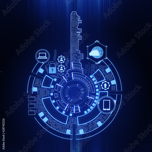 Fotomurales - Creative blue key interface background