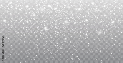 Fotomurales - Seamless realistic falling snow or snowflakes. Isolated on transparent background - stock vector.