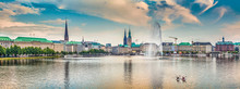 Fotomurales - Binnenalster (Inner Alster Lake) panorama in Hamburg, Germany at sunset