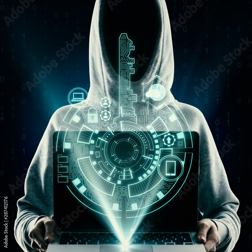 Fotomurales - Hacker using digital interface