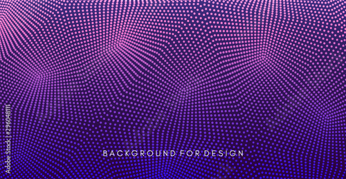 Fotomurales - Abstract background. Technology style. 3d network design with particles. Vector illustration. Cover design template. Can be used for advertising, mark