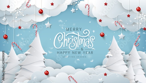 Fotomurales - Winter christmas composition in paper cut style.Merry Christmas text Calligraphic Lettering Vector illustration.