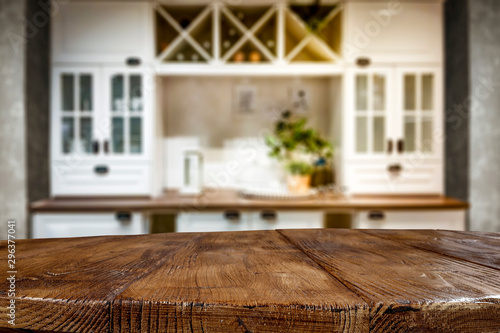 Fotomurales - Table background of free space and kitchen interior
