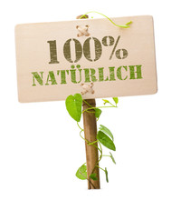 Fotomurales - 100 % naürlich german language natural green sign