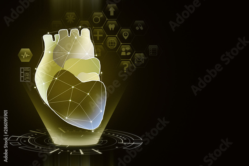 Fotomurales - Creative yellow heart interface background