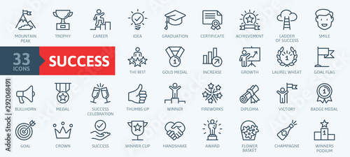 Fotomurales - Sussess, awards, achievment elements - minimal thin line web icon set. Outline icons collection. Simple vector illustration.