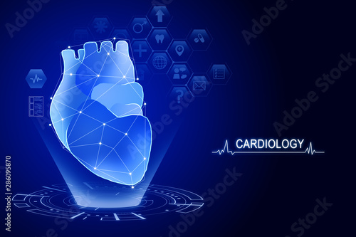 Fotomurales - Creative blue heart interface background
