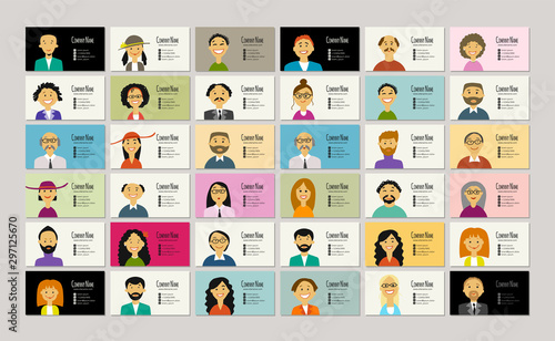 Fotomurales - Business cards with people portraits for your design