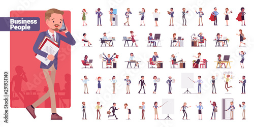 Fotomurales - Business people big bundle character set. Businessmen and businesswomen employed in company, working in office, white collar jobs. Vector flat style c