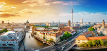 Fotomurales - panoramic view at the berlin city center at sunset