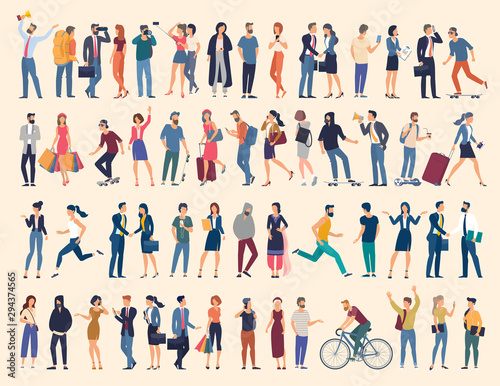 Fotomurales - Set of vector ready to animation people characters performing various activities. Group of men and women flat design style cartoon characters isolated