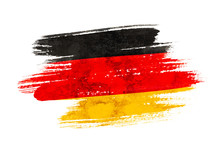 Fotomurales - Art brush watercolor painting of Germany flag blown in the wind isolated on white background.