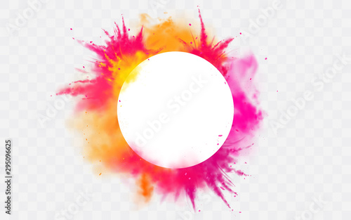 Fotomurales - Color splash Holi powder paints round border isolated on transparent background colorful cloud or explosion, decorative vibrant dye for traditional in