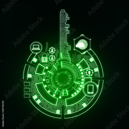 Fotomurales - Creative green key interface background