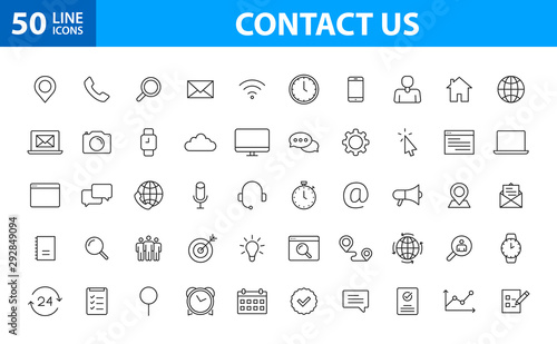 Fotomurales - Set of 50 Contact Us web icons in line style. Web and mobile icon. Chat, support, message, phone. Vector illustration.