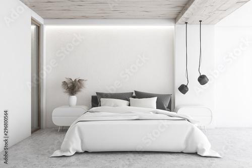 Fotomurales - Luxury white minimalistic bedroom interior