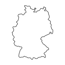Fotomurales - Germany map of black contour curves of vector illustration