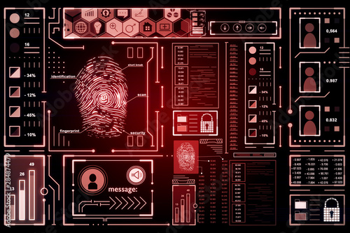 Fotomurales - Glowing red fingerprint interface