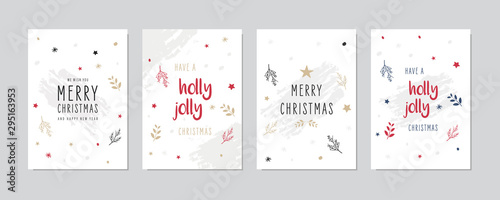 Fotomurales - Christmas card set Holly jolly greeting lettering vector.