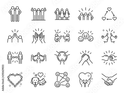 Fotomurales - Friendship line icon set. Included icons as friend, relationship, buddy, greeting, love, care and more.