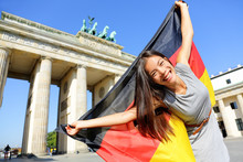 Fotomurales - German flag woman happy at Berlin Germany