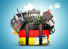 Fotomurales - Germany, german landmarks, travel and retro suitcase