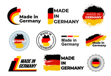 Fotomurales - Made in Germany logo. Set of design German flag in map quality label icon. Vector illustration. Isolated on white background.