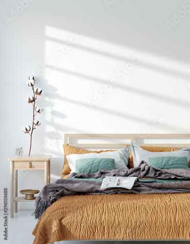 Fotomurales - Mock up frame, wall in home interior background, Bohemian bedroom, Scandinavian style, 3d render
