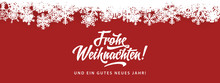 Fotomurales - Frohe Weihnachten - Merry Christmas in German language red flat background template with snowflakes, and calligraphy